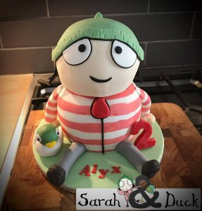 Sarah and duck character cakes - sculpt cake - fondant duck - two tier - cake maker - blacks creative cupcakes