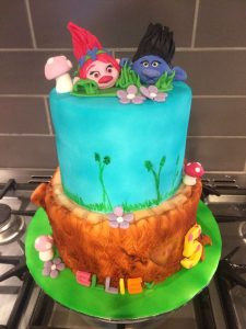 the troll two tier cake - any design - any colour - fondant models - all edible - local cake maker - berwick upon tweed